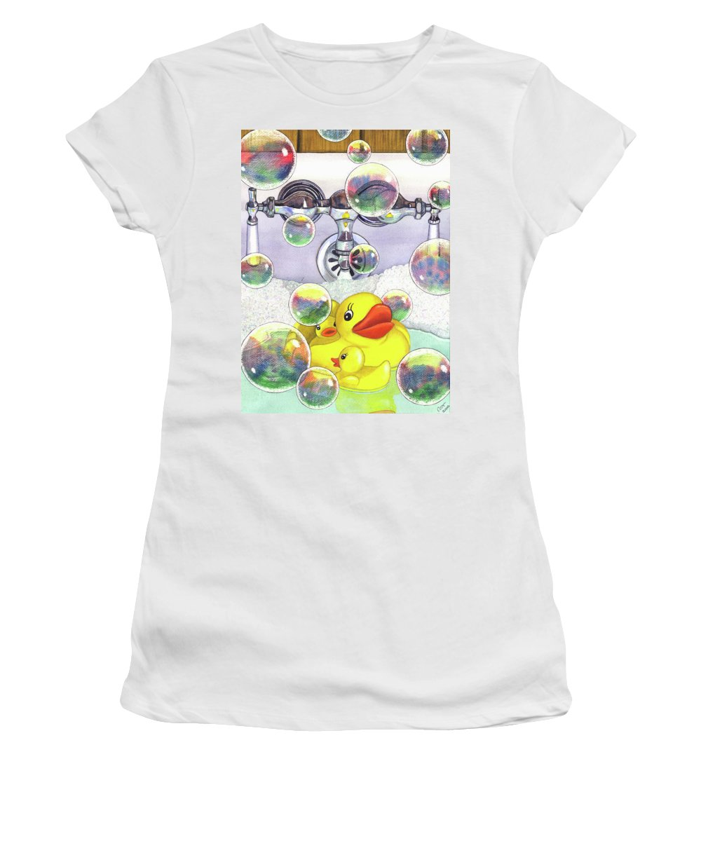 Bubbles Women's T-Shirt (Athletic Fit) featuring the painting Feelin Ducky by Catherine G McElroy
