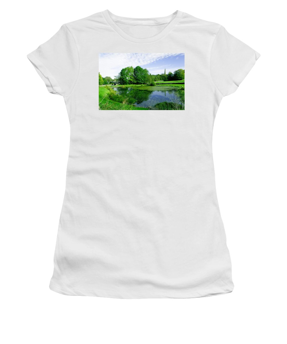 Green Women's T-Shirt (Athletic Fit) featuring the photograph Fere Mere At Monyash by Rod Johnson