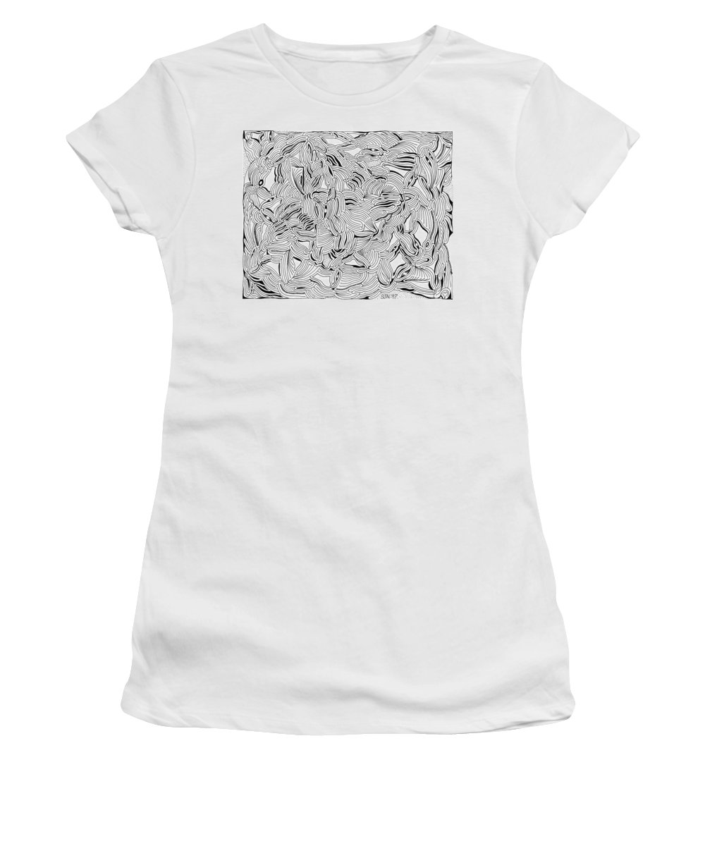 Mazes Women's T-Shirt (Athletic Fit) featuring the drawing Ferment by Steven Natanson