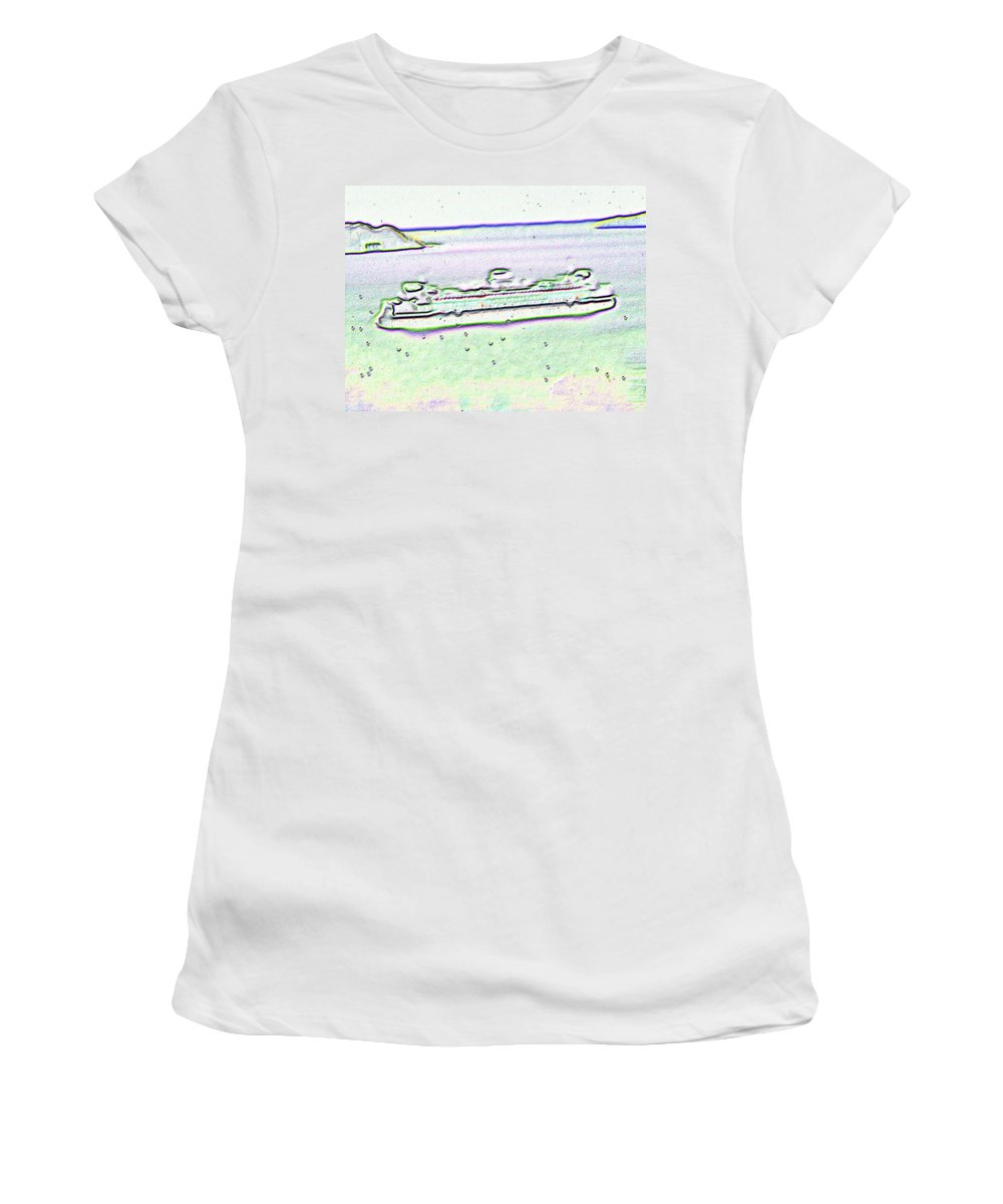 Seattle Women's T-Shirt (Athletic Fit) featuring the photograph Ferry In The Rain by Tim Allen