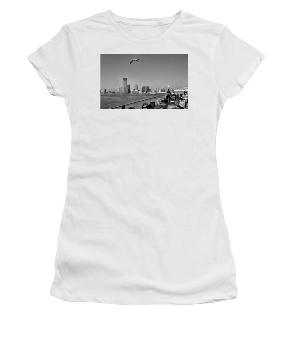 Ny Women's T-Shirt (Athletic Fit) featuring the photograph Ferry Ride To Statue Of Liberty Ny Nj Black Wht by Chuck Kuhn