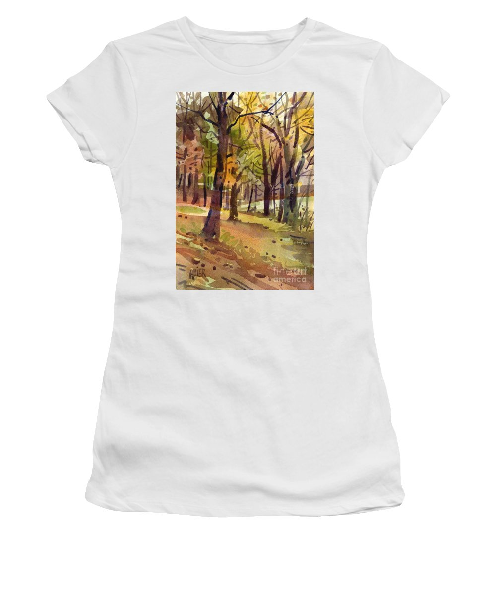 Landscape Women's T-Shirt (Athletic Fit) featuring the painting Field Of Gold by Donald Maier