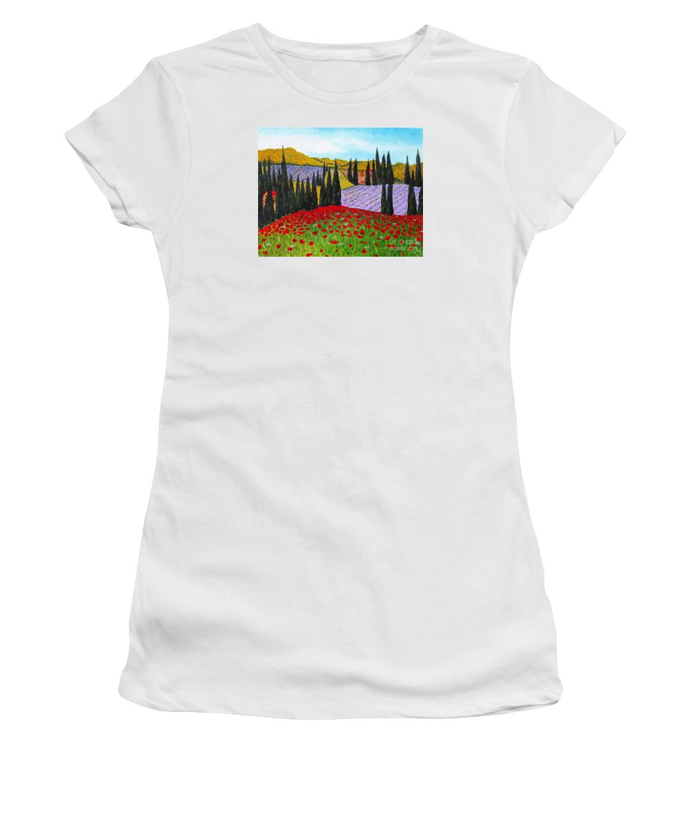 Fields Of Memories Women's T-Shirt featuring the painting Fields Of Memories by Barbara Griffin