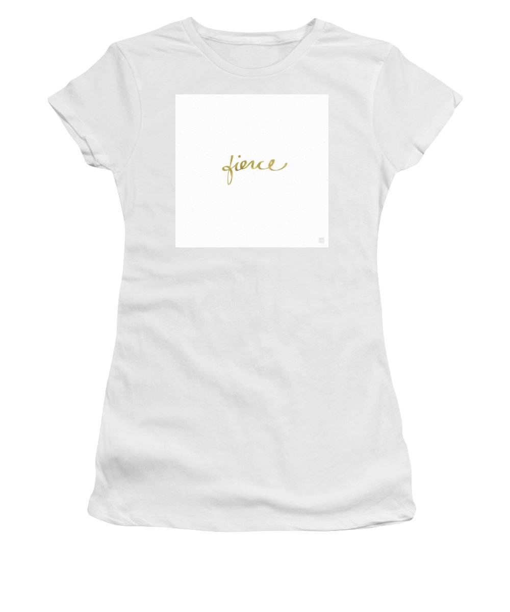 Little Black Dress Women's T-Shirt featuring the painting Fierce Gold- Art By Linda Woods by Linda Woods