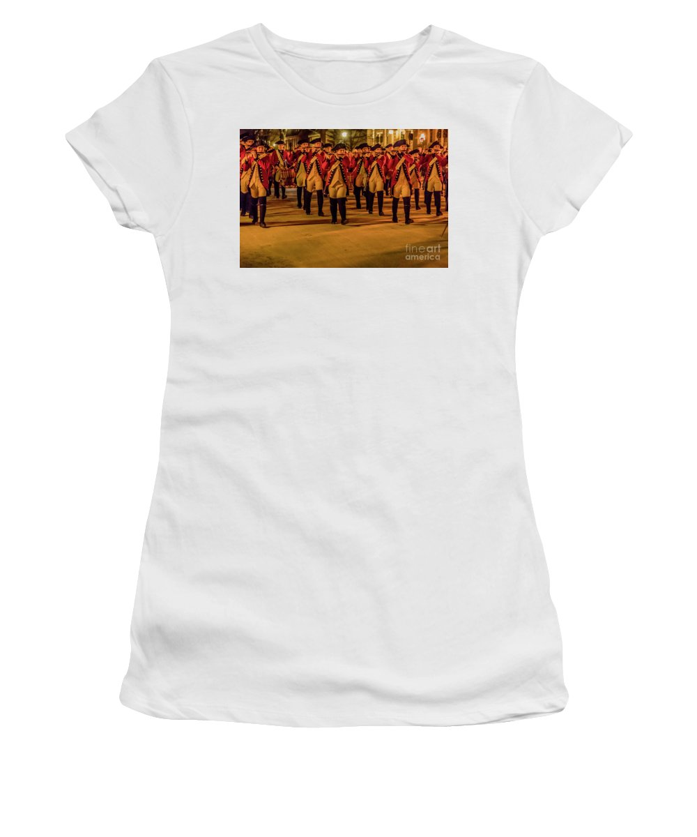Fife And Drum Illumination Women's T-Shirt (Athletic Fit) featuring the photograph Fife And Drum Illumination 3782 by Doug Berry