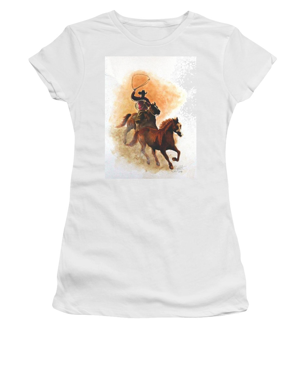 Western Women's T-Shirt (Athletic Fit) featuring the painting Fighting For Freedom by Jimmy Smith