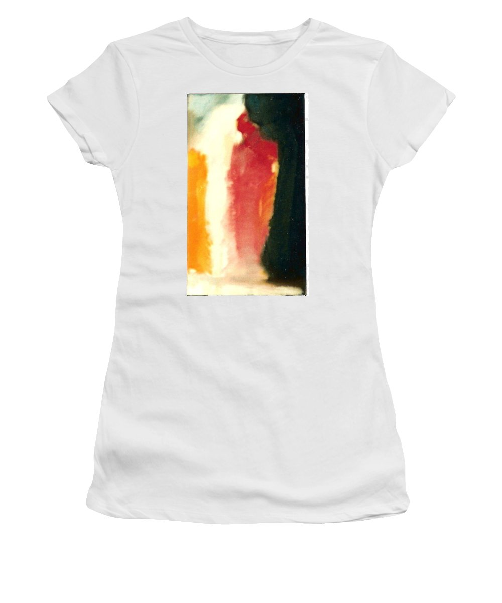 Figure In Orange And Black Women's T-Shirt featuring the painting Figure In Orange And Black by Liliane DUMONT-BUIJS