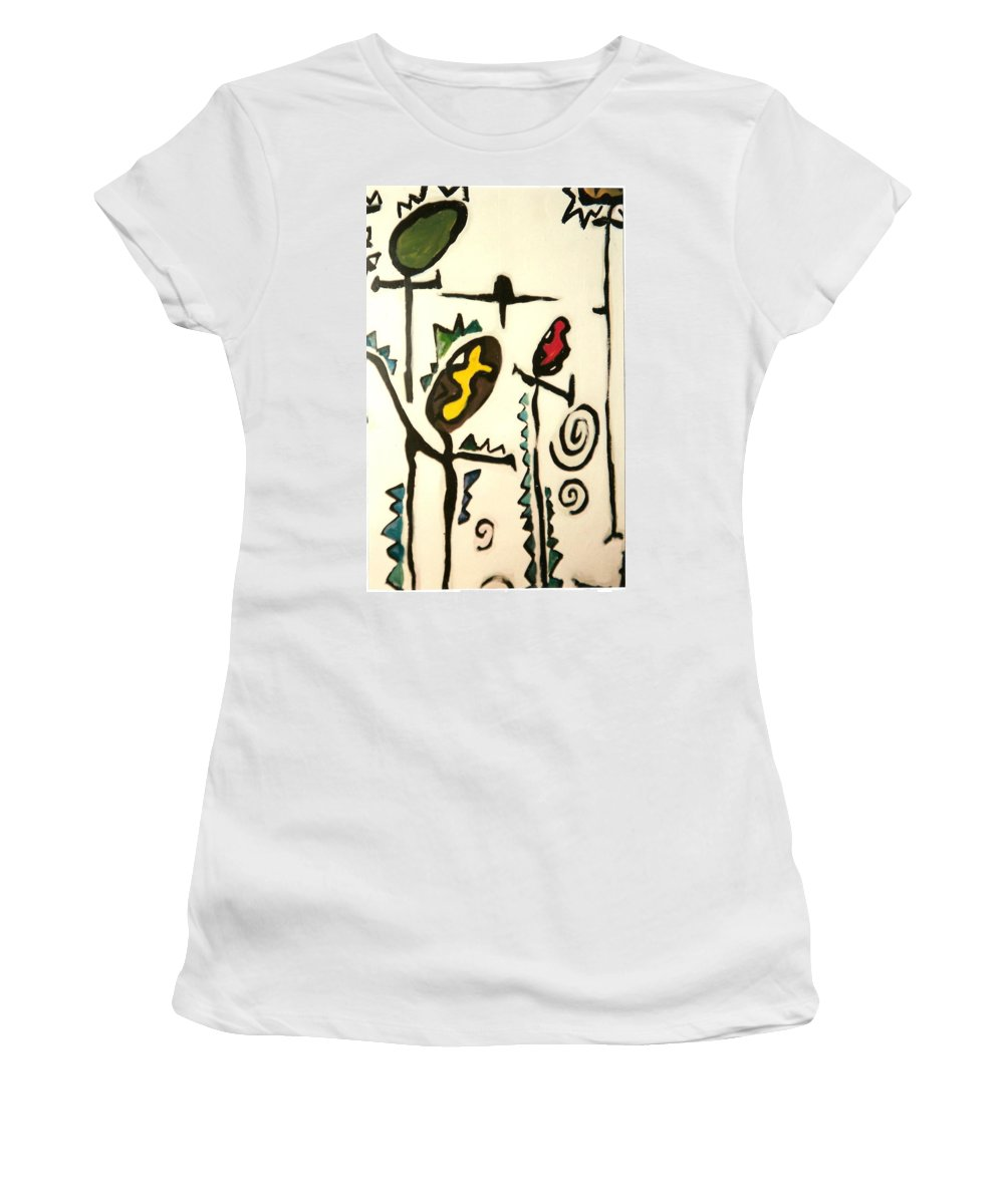 Figures Women's T-Shirt featuring the painting Figures by Liliane DUMONT-BUIJS