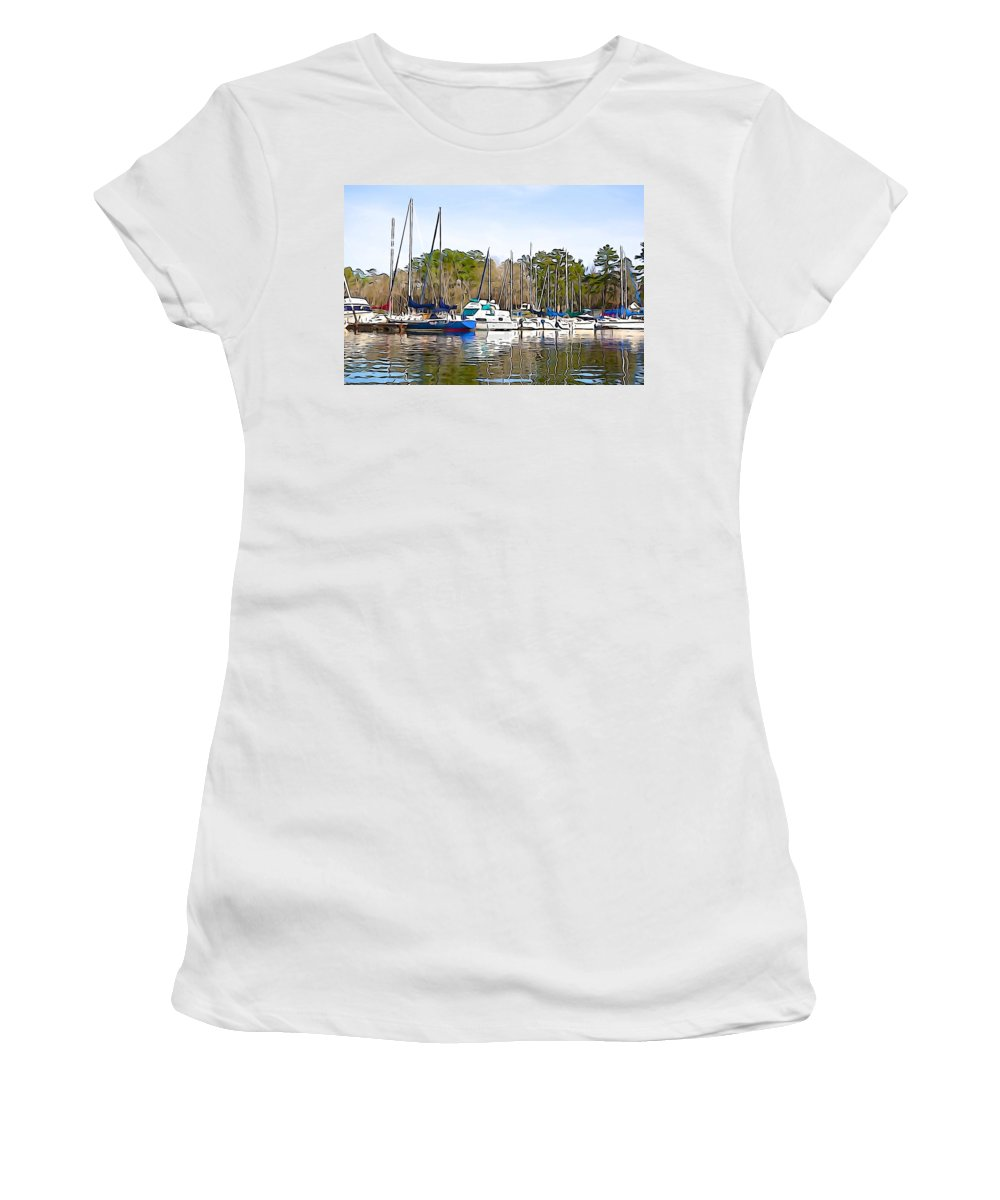 Sail Women's T-Shirt (Athletic Fit) featuring the photograph Fine Day To Sail - Illustration Style by Charlie and Norma Brock