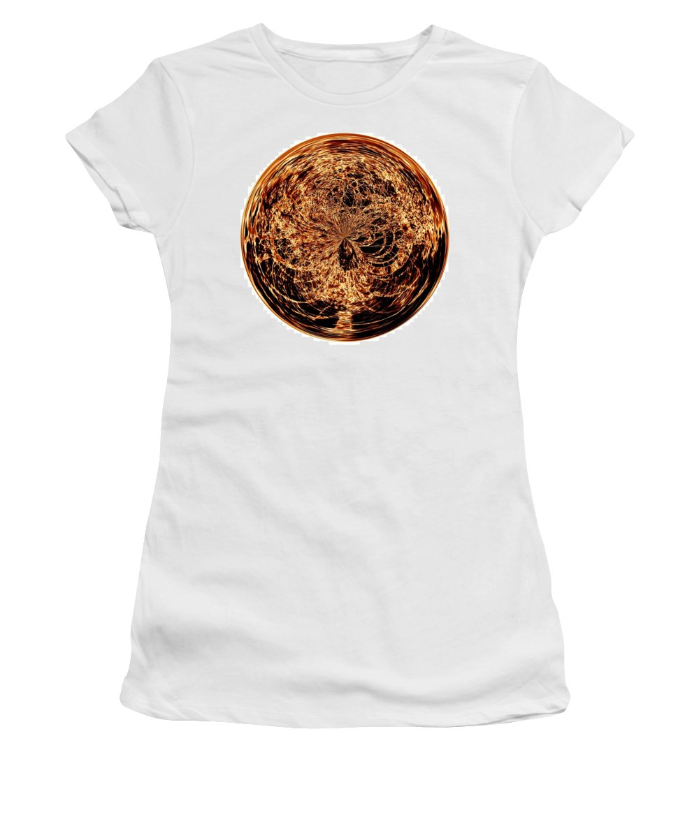 Black Women's T-Shirt (Athletic Fit) featuring the digital art Fire Ball by Charleen Treasures