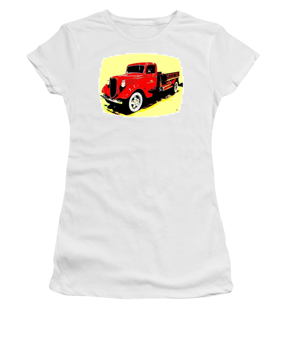Fire Engine Women's T-Shirt (Athletic Fit) featuring the digital art Fire Engine Ok by Will Borden
