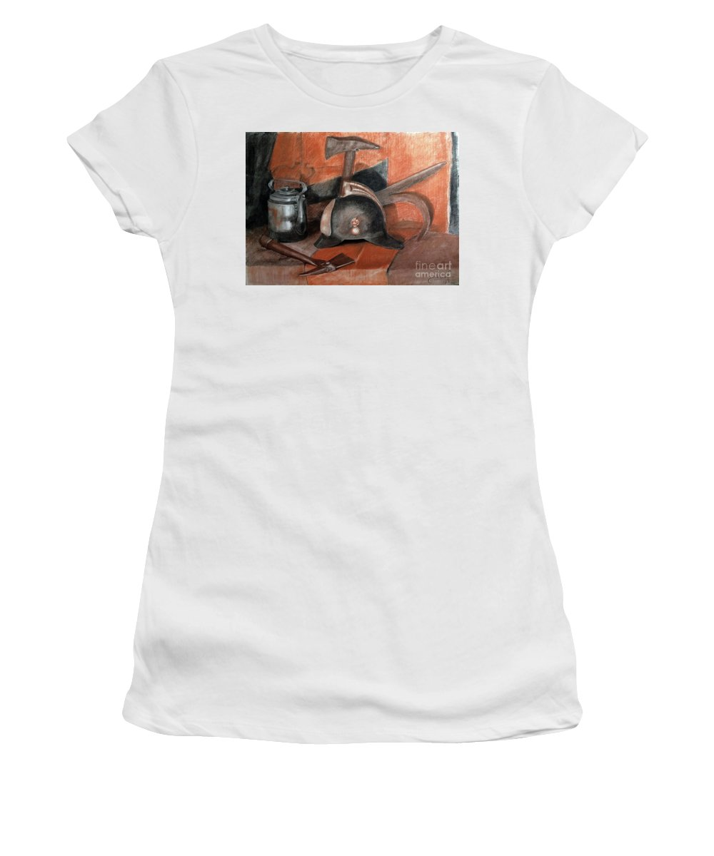 Fire Women's T-Shirt (Athletic Fit) featuring the painting Fireman by Eugene Khmelev