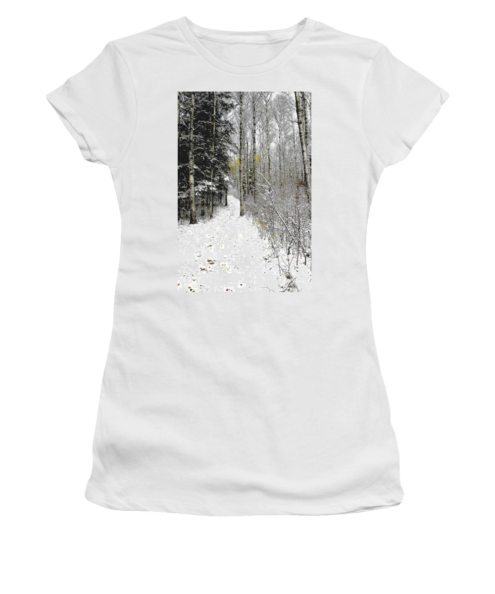 Winter Women's T-Shirt (Athletic Fit) featuring the photograph First Snowfall by Nelson Strong