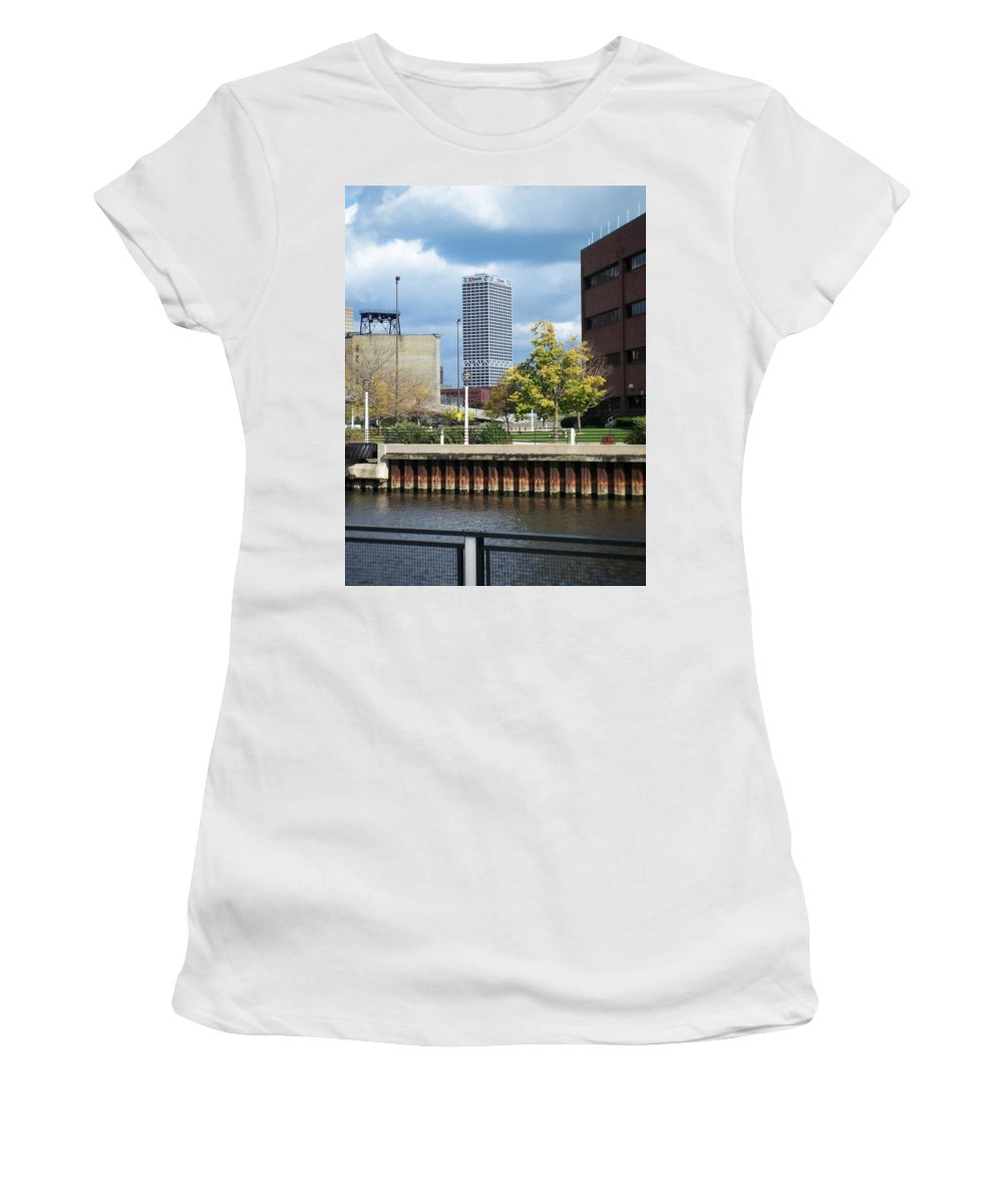 First Star Bank Women's T-Shirt (Athletic Fit) featuring the photograph First Star Tall View From River by Anita Burgermeister