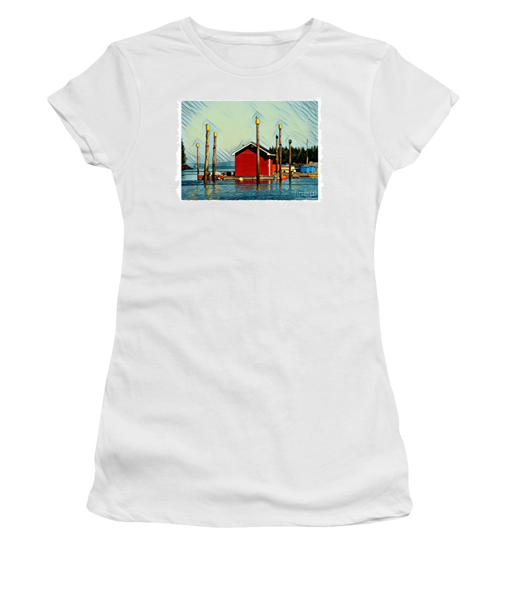 Campobello Women's T-Shirt (Athletic Fit) featuring the digital art Fish Shack, Campobello by Art MacKay