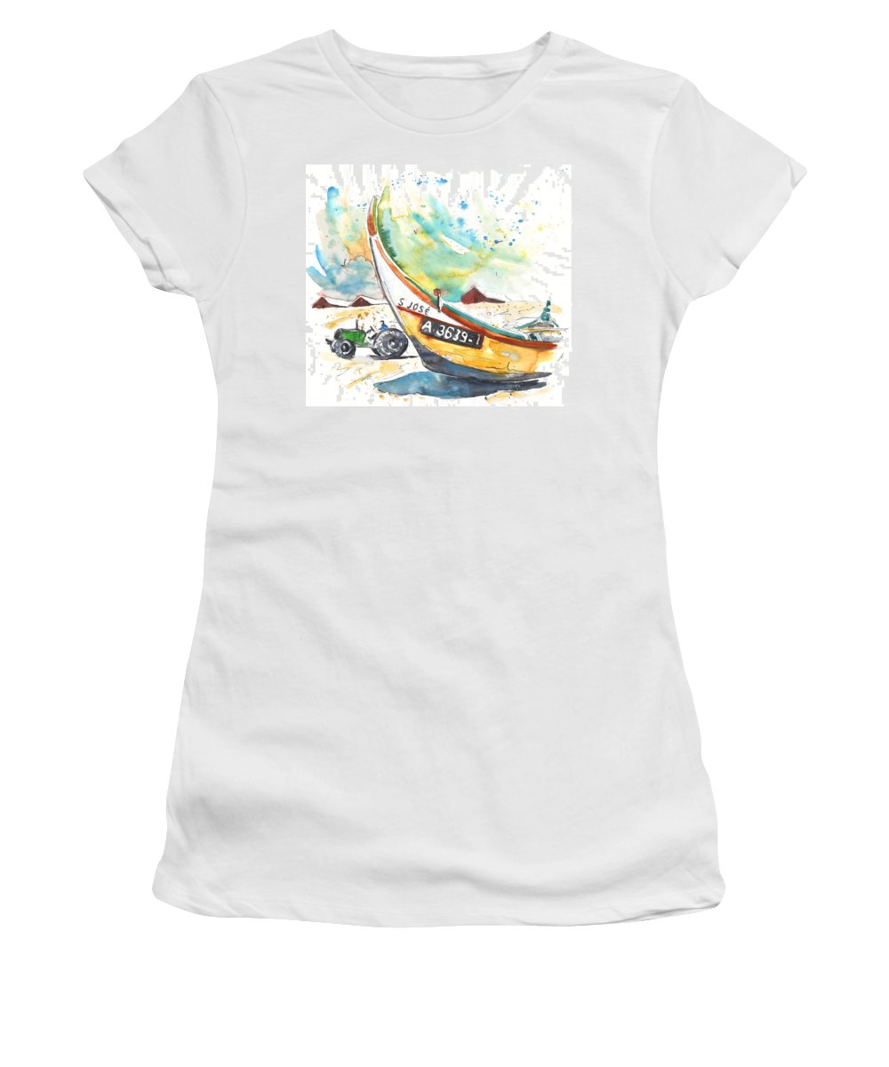 Portugal Women's T-Shirt (Athletic Fit) featuring the painting Fisherboat In Praia De Mira by Miki De Goodaboom