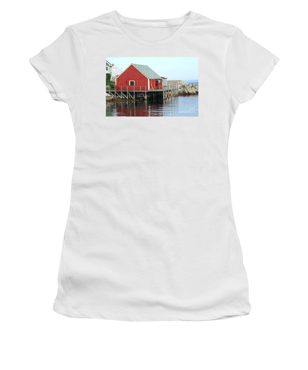 Peggy's Cove Women's T-Shirt (Athletic Fit) featuring the photograph Fishermans House On Peggys Cove by Thomas Marchessault