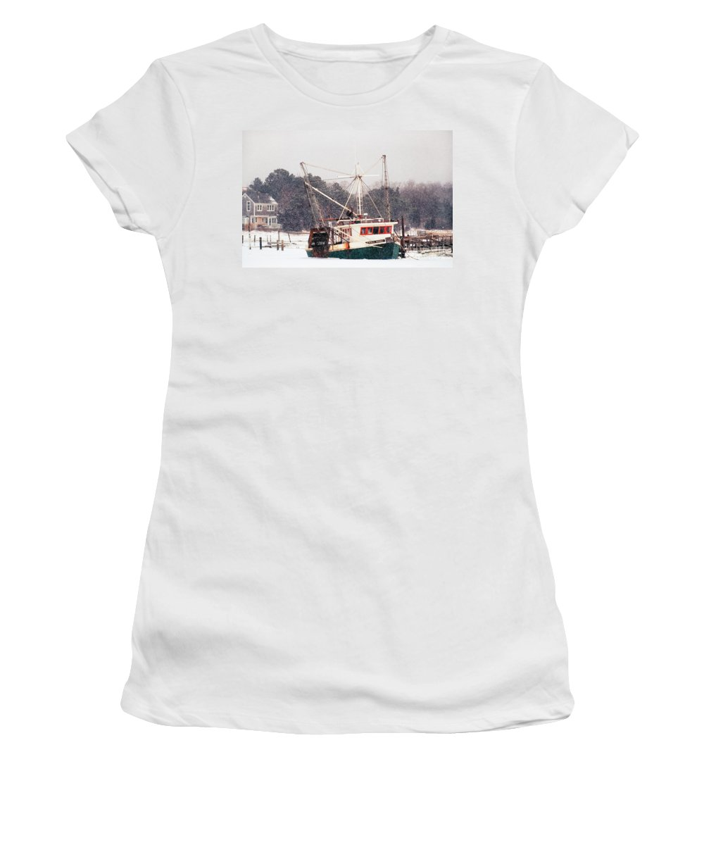 Fishing Boat Women's T-Shirt (Athletic Fit) featuring the photograph Fishing Boat Emma Rose In Winter Cape Cod by Matt Suess