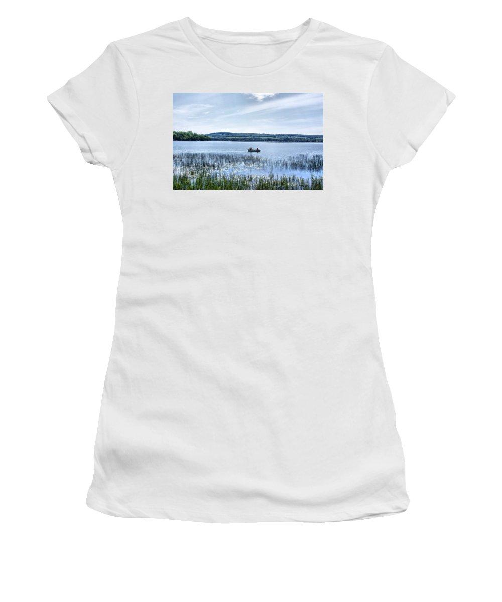 Lake Women's T-Shirt (Athletic Fit) featuring the photograph Fishing On Lake Carmi by Deborah Benoit