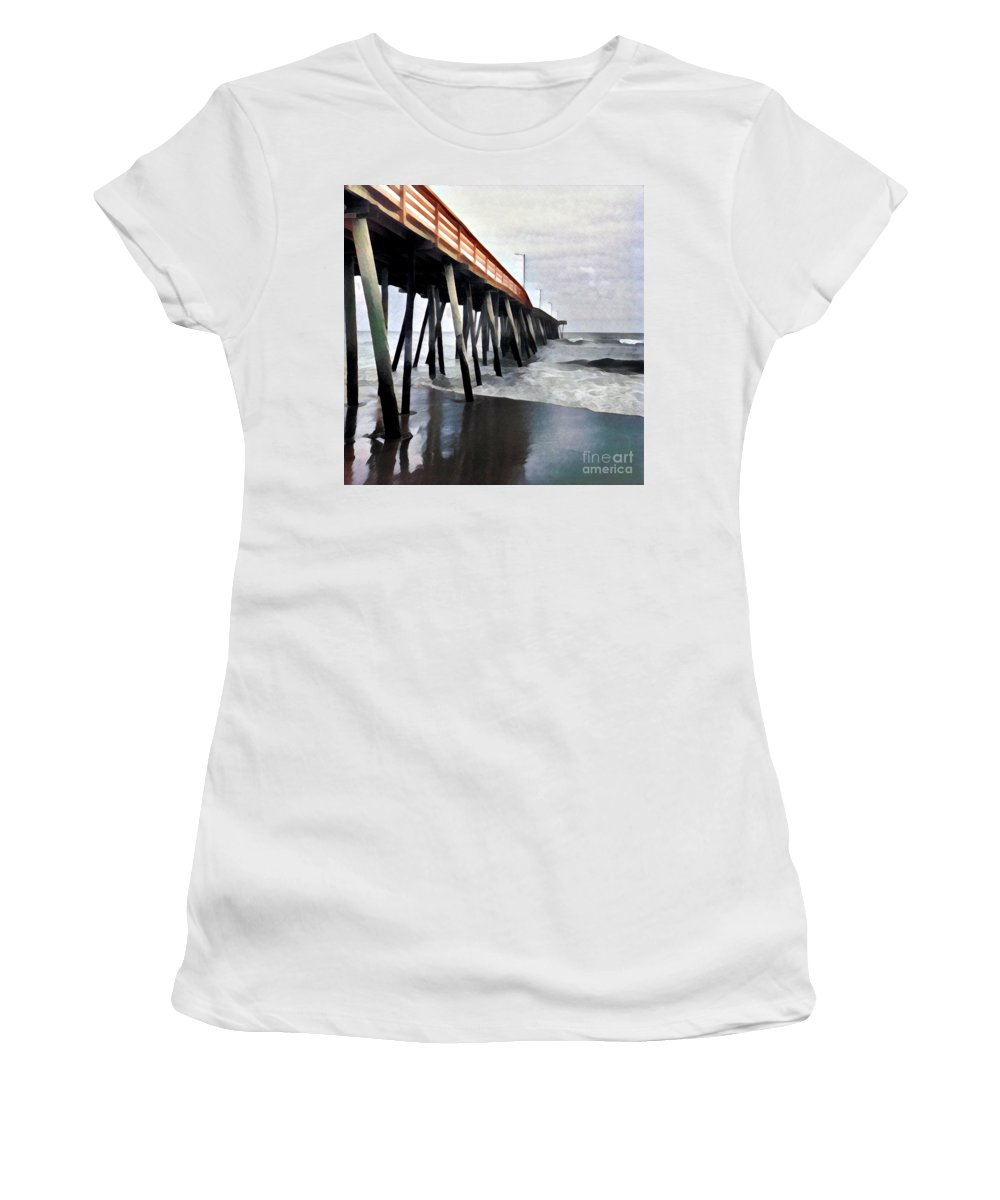 Virginia Women's T-Shirt (Athletic Fit) featuring the digital art Fishing Pier by Ed Spangenberg