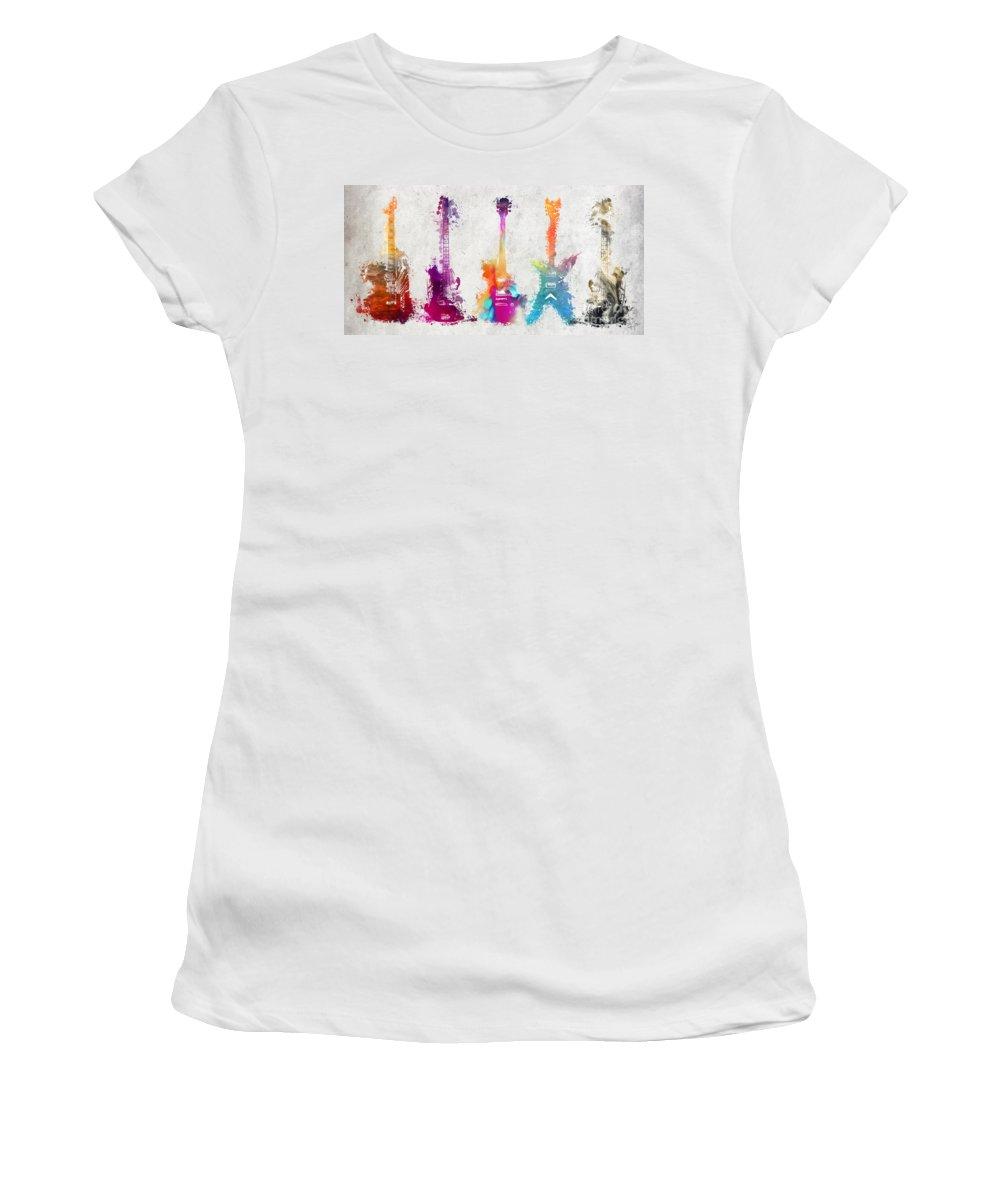 Guitar Women's T-Shirt featuring the digital art Five Colored Guitars by Justyna JBJart