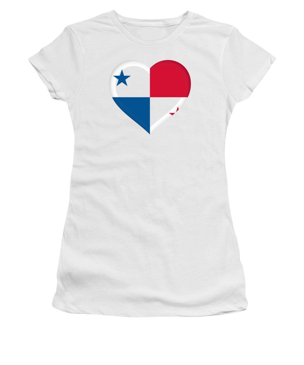 Panama Women's T-Shirt featuring the digital art Flag Of Panama Heart by Roy Pedersen