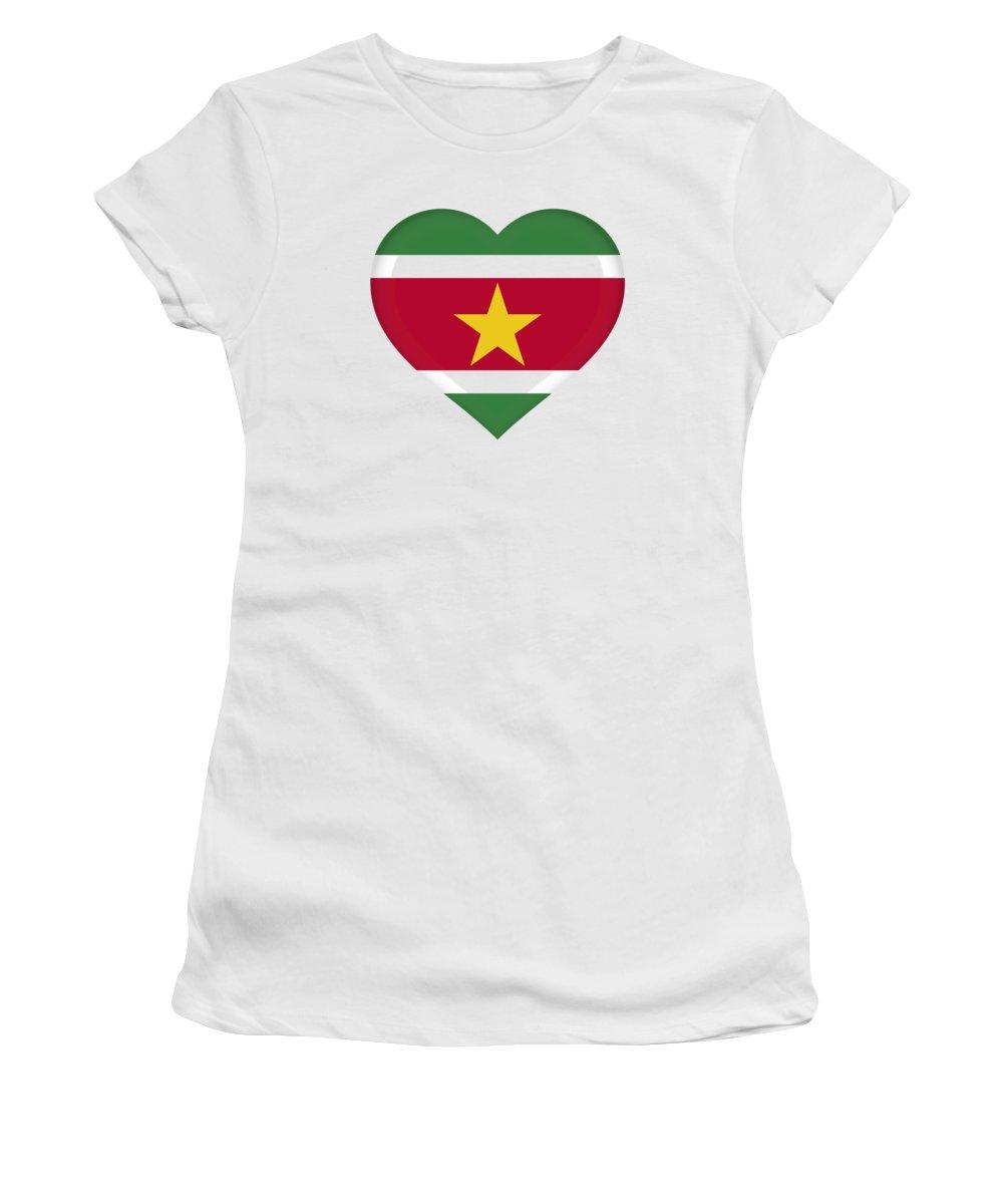 Suriname Women's T-Shirt featuring the digital art Flag Of Suriname Heart by Roy Pedersen
