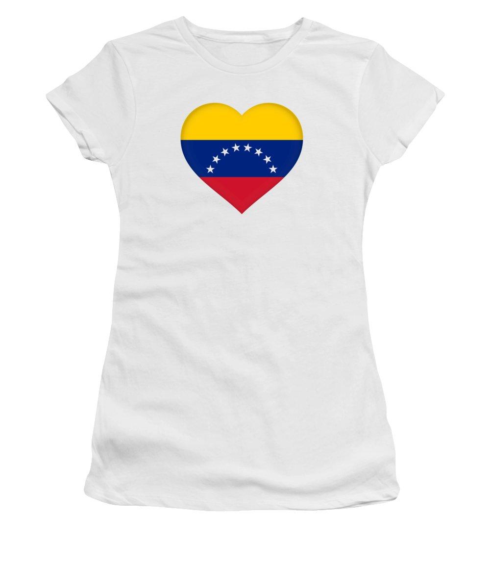 Venezuela Women's T-Shirt featuring the photograph Flag Of Venezuela Heart by Roy Pedersen