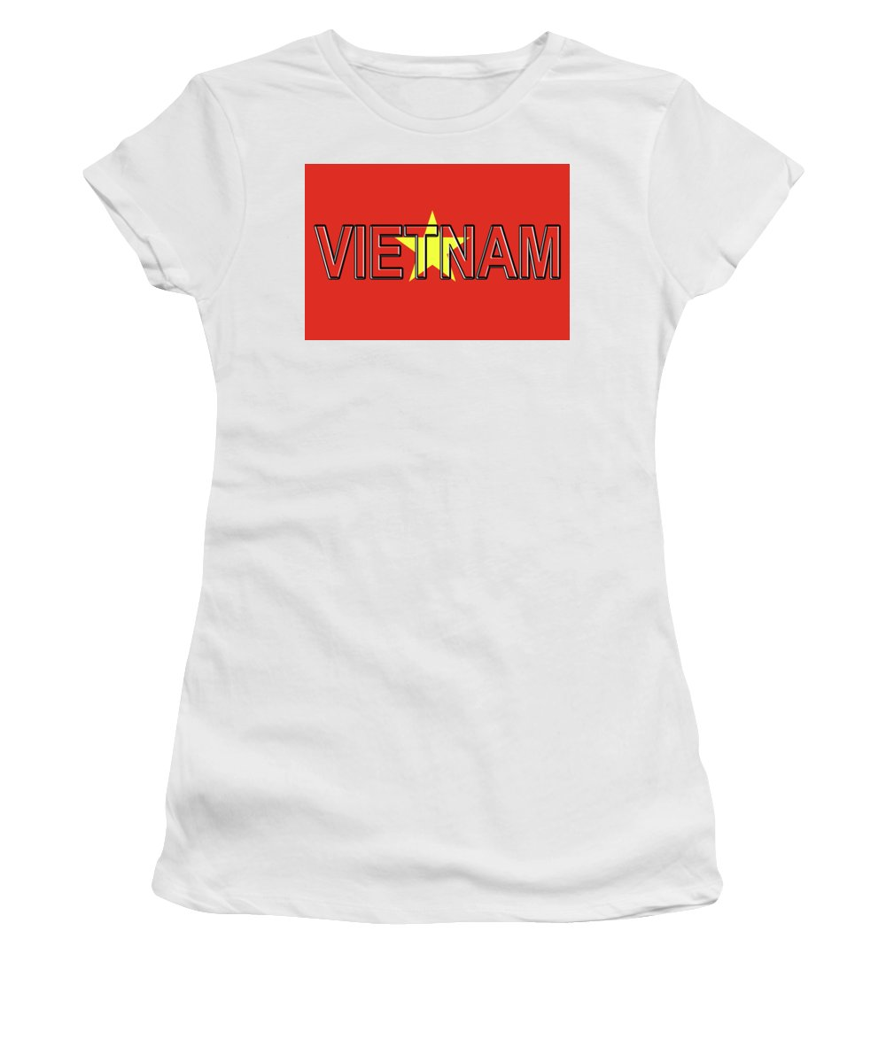 Asia Women's T-Shirt (Athletic Fit) featuring the photograph Flag Of Vietnam Word by Roy Pedersen