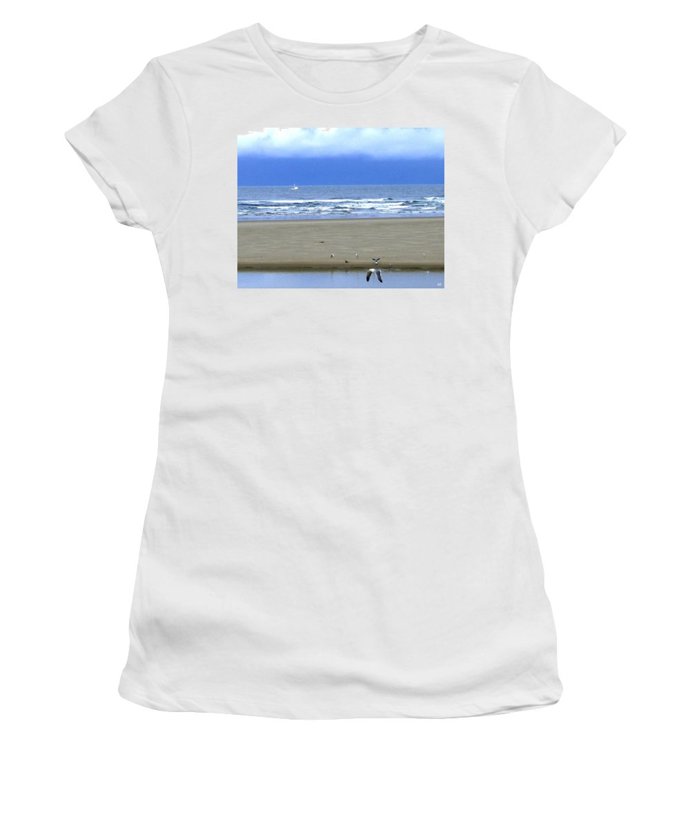Seagull Women's T-Shirt (Athletic Fit) featuring the photograph Flaps Down by Will Borden