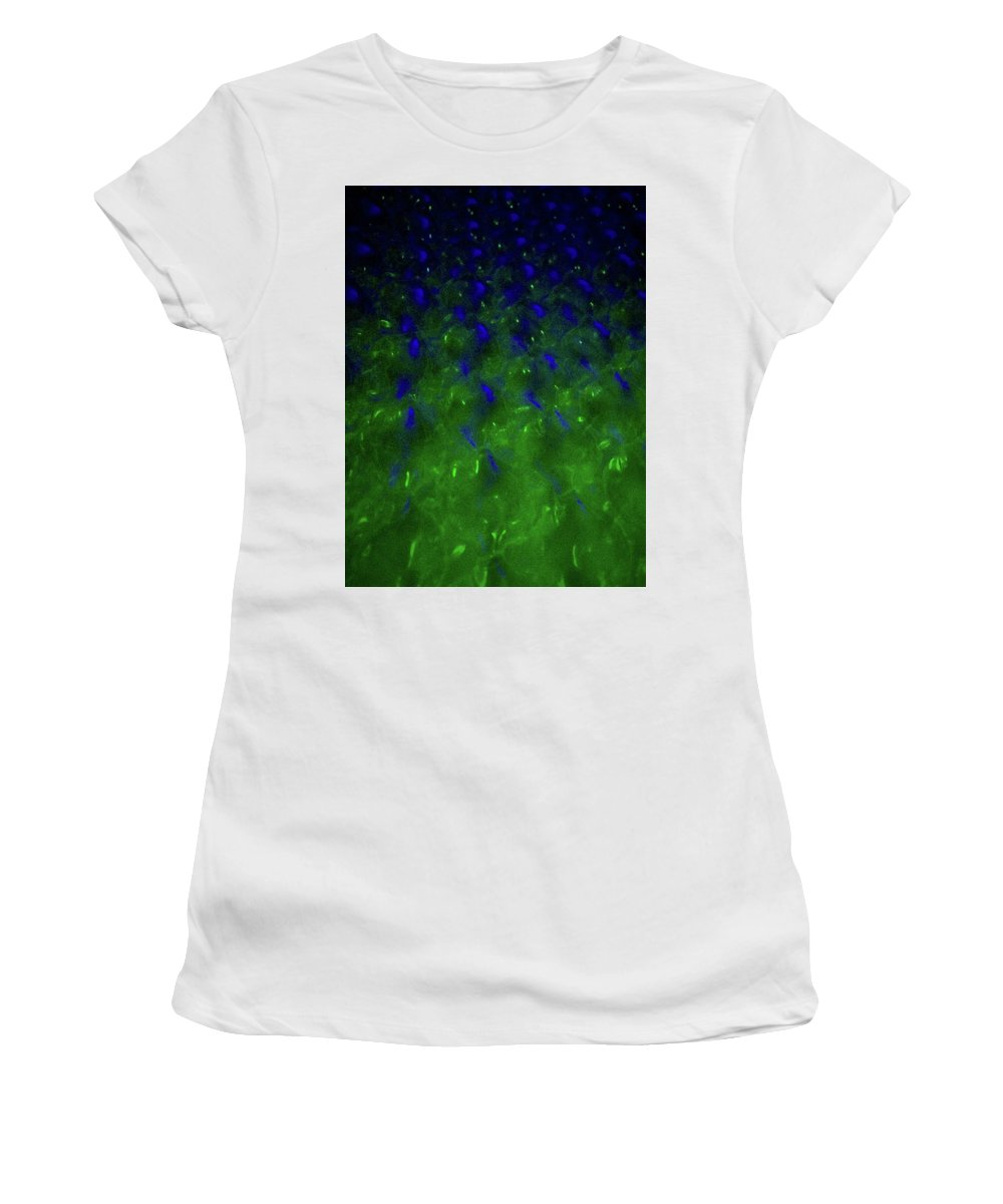 Abstract Women's T-Shirt (Athletic Fit) featuring the photograph Floating Bubbles # 24 by Paolo Staccioli