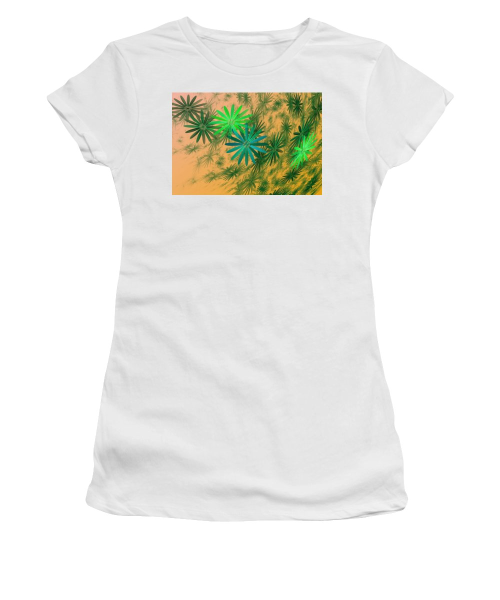 Women's T-Shirt (Athletic Fit) featuring the digital art Floating Floral - 004 by David Lane