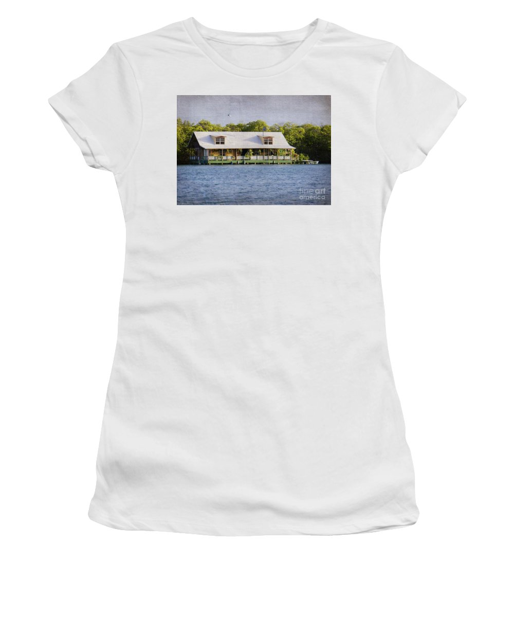 Floating House Women's T-Shirt (Athletic Fit) featuring the photograph Floating House In La Parguera Puerto Rico by Lilliana Mendez