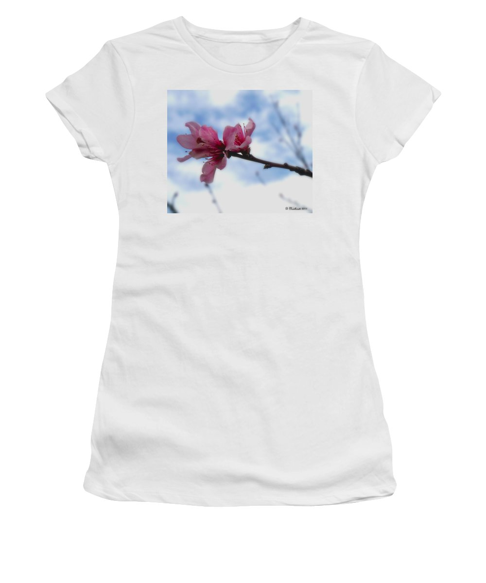 Peach Women's T-Shirt (Athletic Fit) featuring the photograph Floating On Air by Betty Northcutt