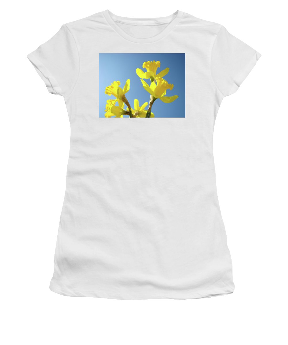 Daffodils Women's T-Shirt (Athletic Fit) featuring the photograph Floral Art Daffodil Flowers Spring Prints Blue Sky Baslee Troutman by Baslee Troutman