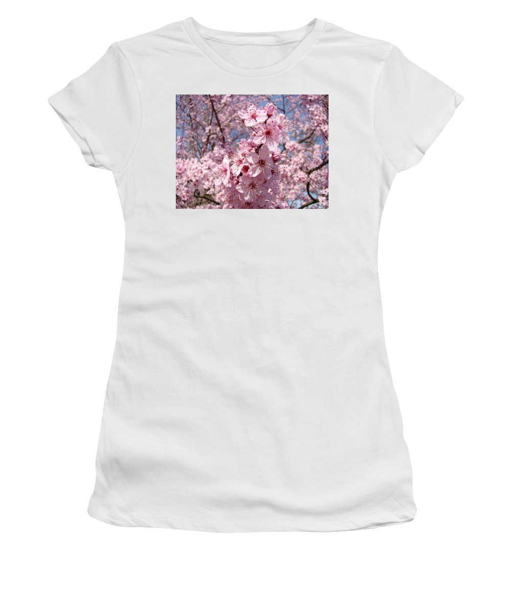 Blossom Women's T-Shirt (Athletic Fit) featuring the photograph Floral Spring Art Pink Blossoms Canvas Baslee Troutman by Baslee Troutman