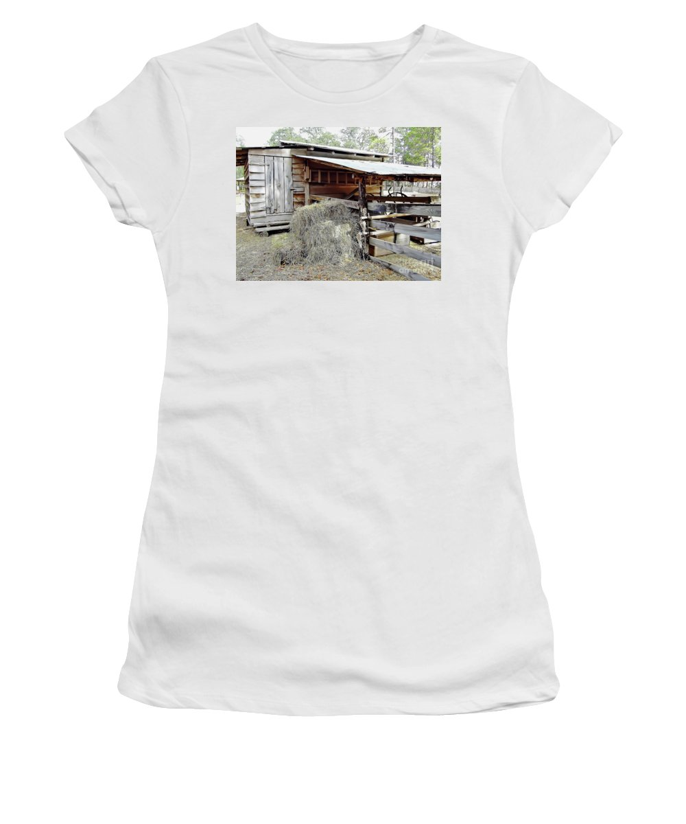 Barn Women's T-Shirt (Athletic Fit) featuring the photograph Florida Cracker Barn by D Hackett