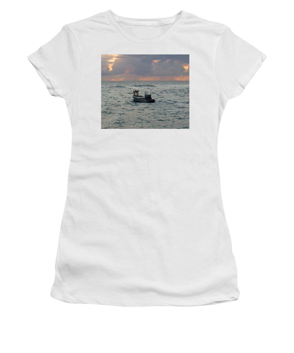Florida; Lobster; Lobstermen; Lobsterman; Boat; Trap; Catch; Haul; Traps; Sebastian; Inlet; Atlantic Women's T-Shirt (Athletic Fit) featuring the photograph Florida Lobstermen At Dawn by Allan Hughes