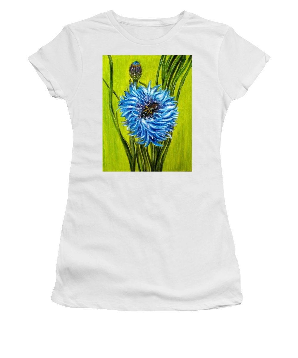 Flower Women's T-Shirt (Athletic Fit) featuring the painting Flower And Bee Oil Painting by Natalja Picugina