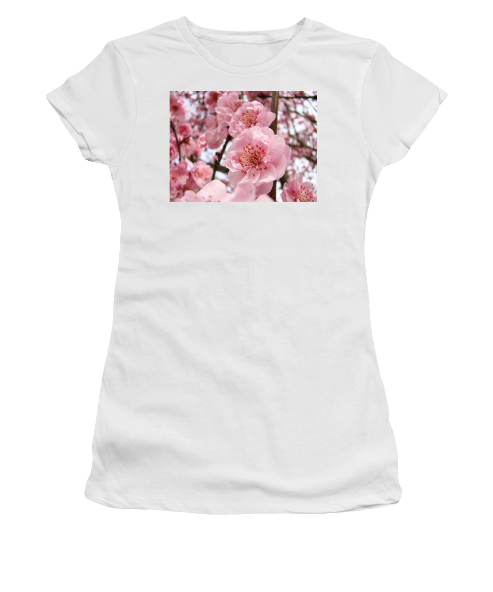 Blossom Women's T-Shirt (Athletic Fit) featuring the photograph Flower Blossoms Art Spring Trees Pink Blossom Baslee Troutman by Baslee Troutman