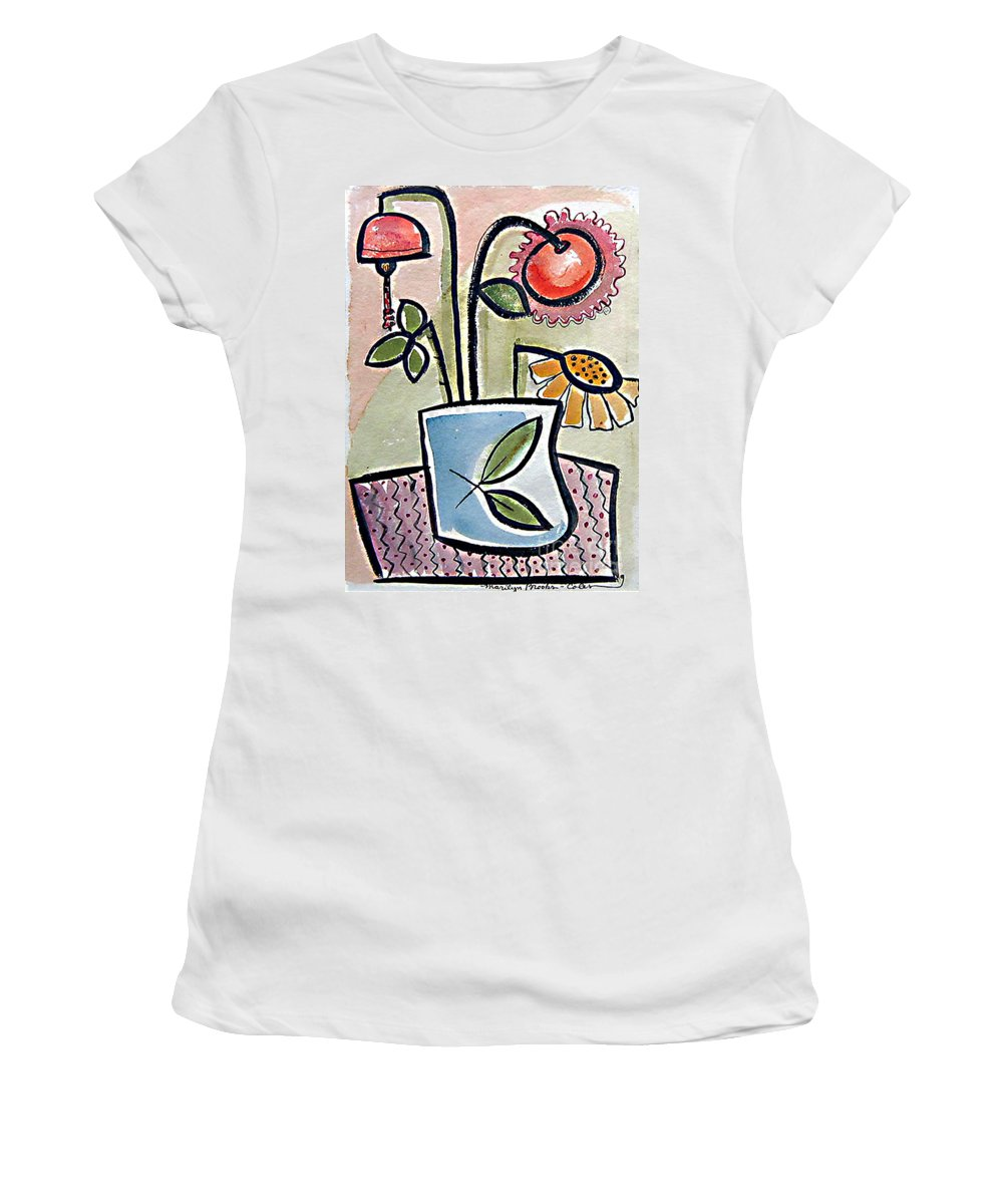 Flower Women's T-Shirt (Athletic Fit) featuring the painting Flower Jug by Marilyn Brooks
