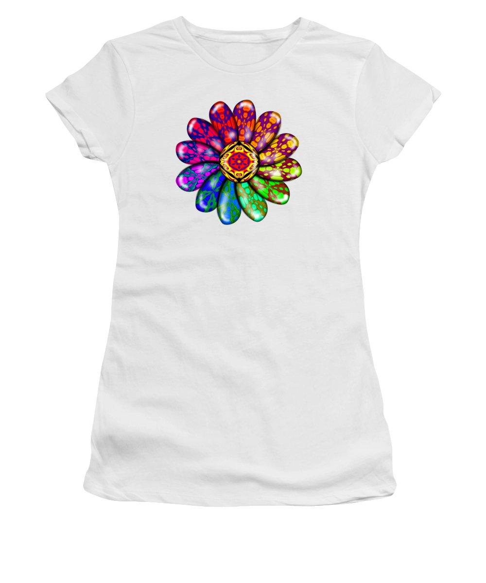 Digital Women's T-Shirt (Athletic Fit) featuring the digital art Flower Mandala 6 by Alessandra Valentini