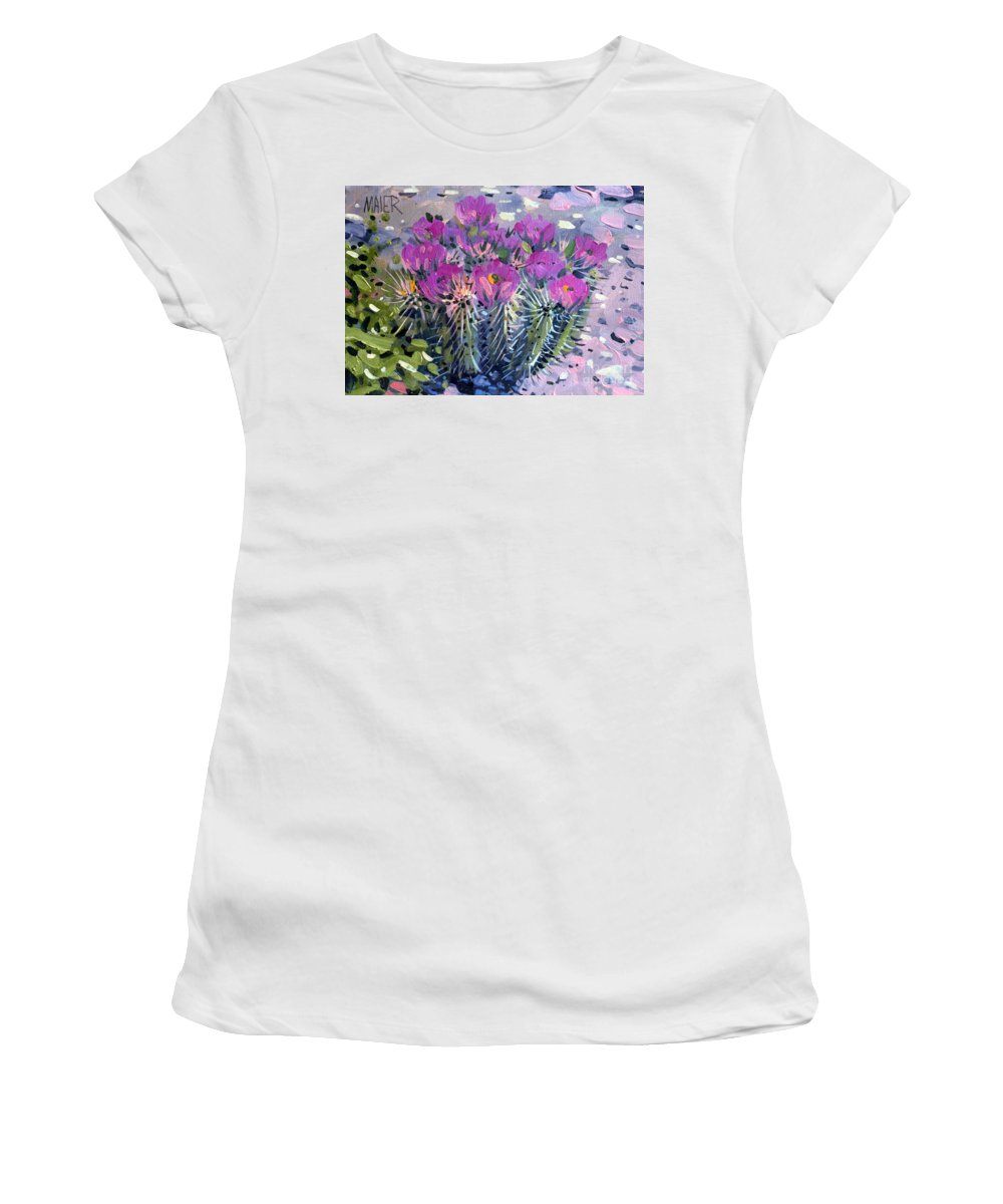 Flowering Cactus Women's T-Shirt (Athletic Fit) featuring the painting Flowering Cactus by Donald Maier