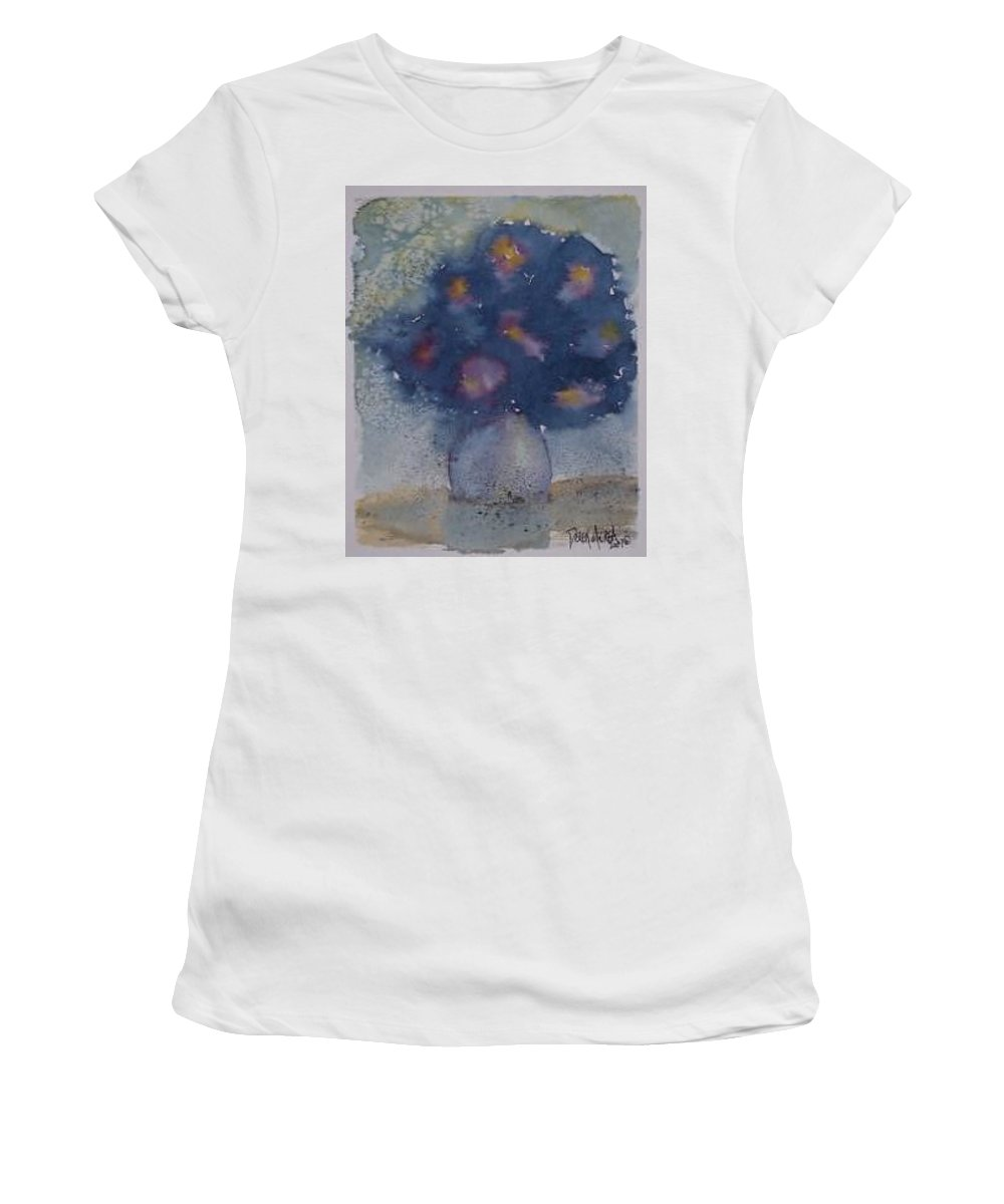 Watercolor Women's T-Shirt (Athletic Fit) featuring the painting Flowers At Night Original Abstract Gothic Surreal Art by Derek Mccrea