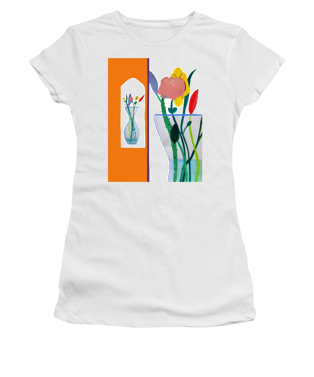 Art Women's T-Shirt (Athletic Fit) featuring the painting Flowers Small And Big by Lee Serenethos
