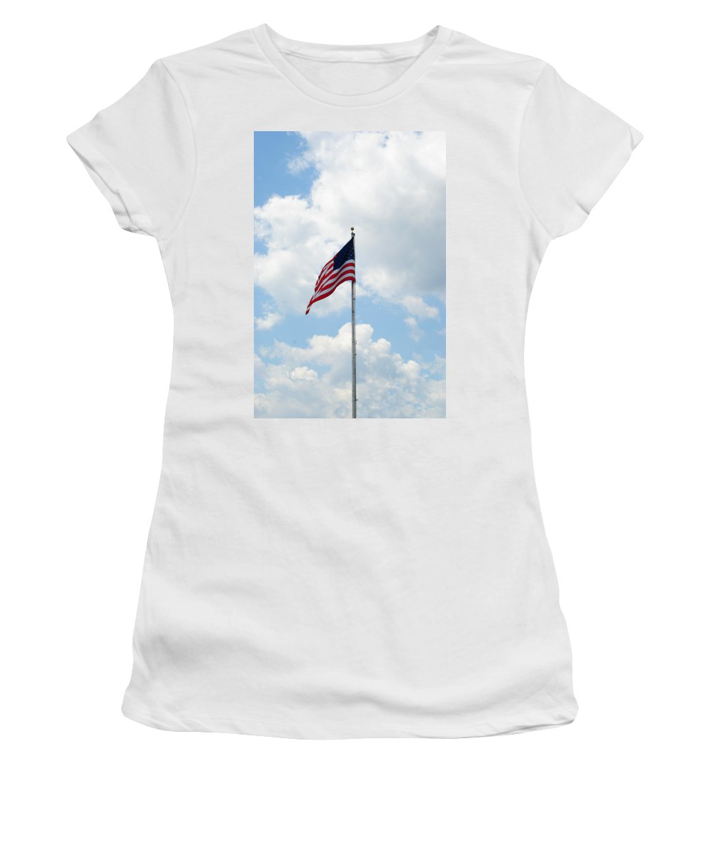 Old Glory Women's T-Shirt (Athletic Fit) featuring the photograph Flying High by Eric Liller