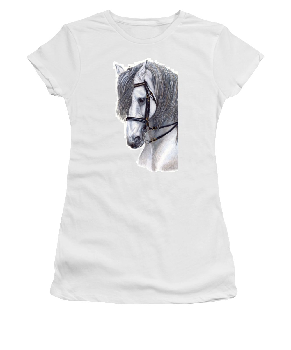 Horse Women's T-Shirt (Athletic Fit) featuring the drawing Focus by Kristen Wesch