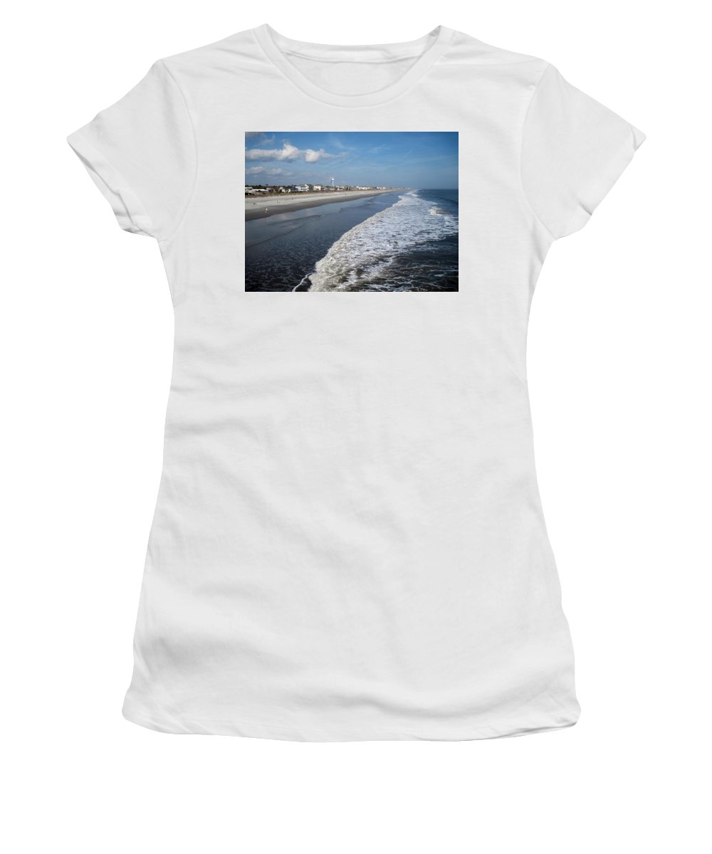 Photography Women's T-Shirt (Athletic Fit) featuring the photograph Folly Beach Charleston Sc by Susanne Van Hulst