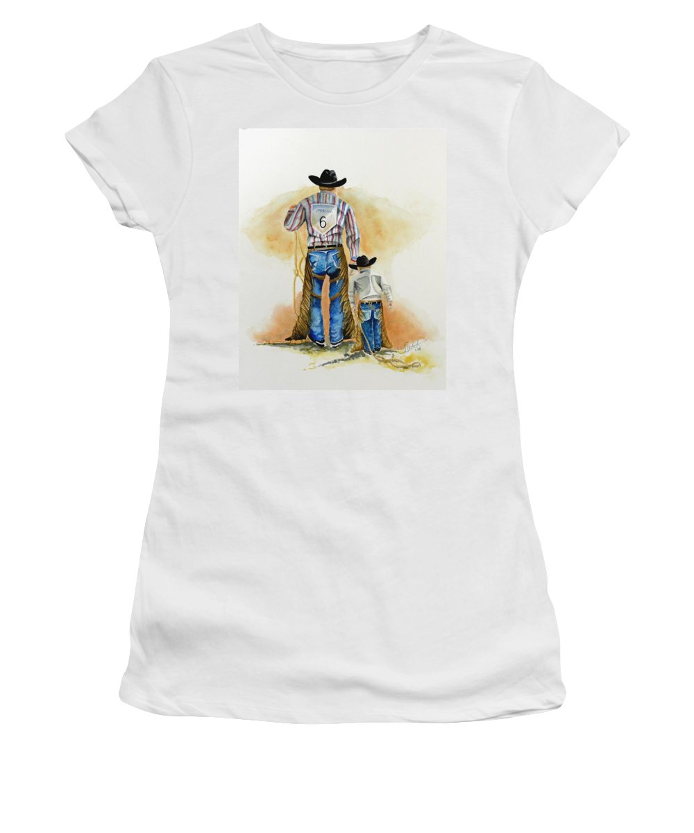 Bull Women's T-Shirt (Athletic Fit) featuring the painting Footsteps by Jimmy Smith