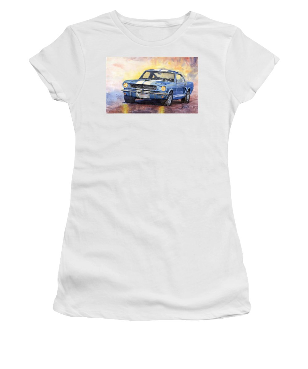 Watercolor Women's T-Shirt featuring the painting 1966 Ford Mustang GT 350 by Yuriy Shevchuk